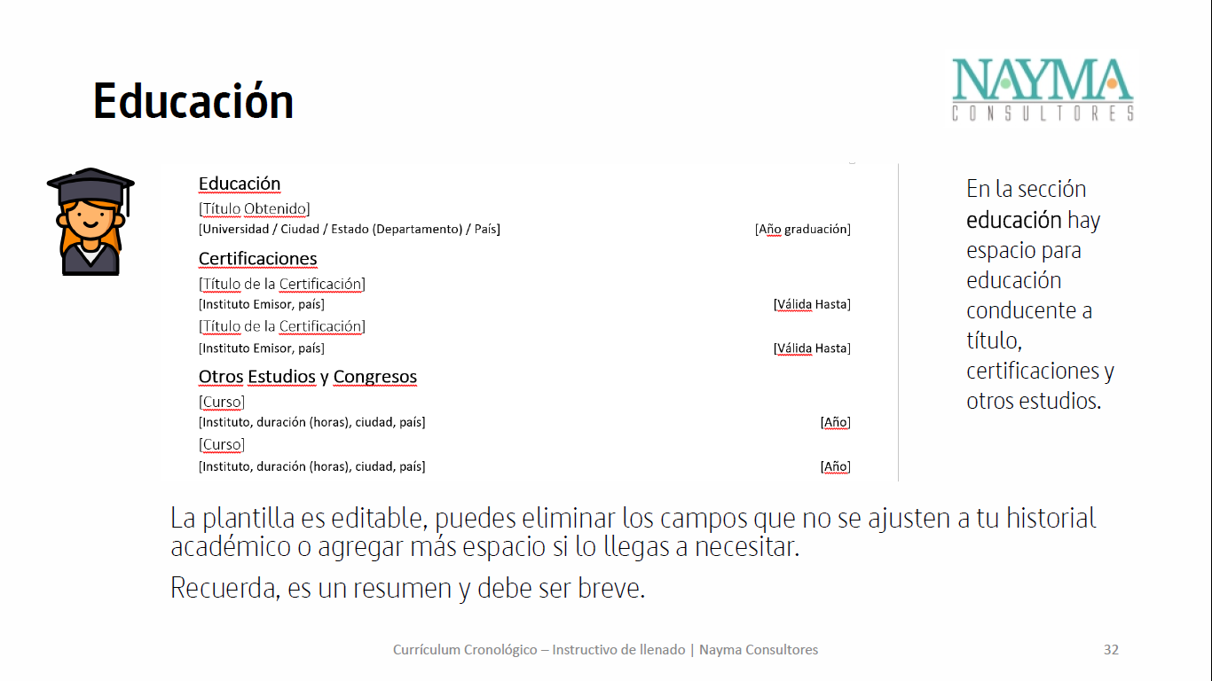 Formato Currículum Vitae – Cronológico – Nayma Consultores
